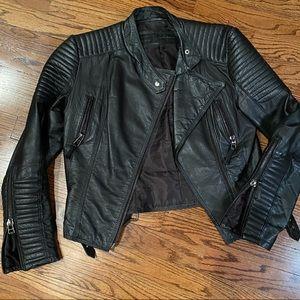 Zara 100% lambskin leather biker Moto jacket - M